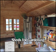 garden shed and wooden tool storage shed