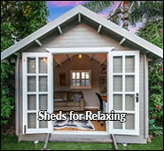 pool shed, spa shed, sheds for relaxing