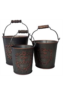 Set of 3 round Metal Pots