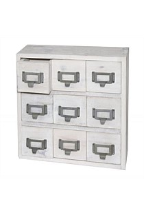 White Wash Wooden Drawer Chest