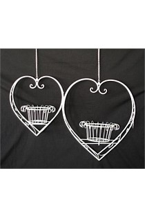 White Hanging Heart Basket - Medium