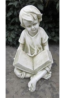 GARDEN STATUE BOY READING BOOK