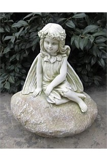 GARDEN STATUE FAIRY SITTING ON ROCK