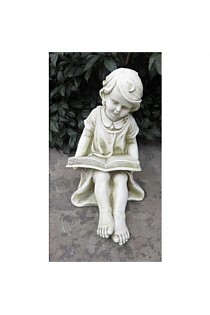 GARDEN STATUE GIRL READING BOOK