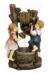 BOY & GIRL WELL WATER FEATURE