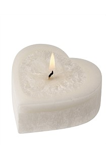 A Gorgeous Heart Candle - White Rose