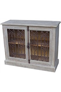 2 Door Buffet with Metal Filigree old Pine/Grey Wash