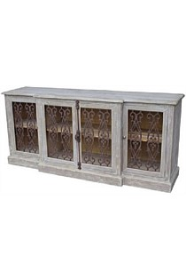 4 Door Buffet with Metal Filigree Old Pine/Grey Wash