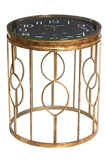 Gold Side Table with Clock Top