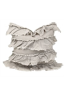 Linen Layer/ Frill Cushion - Taupe