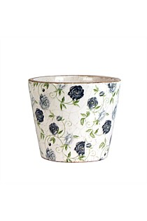 Blue Rose Small Round Planter