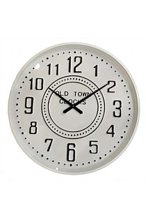 Old Town Metal Wall Clock - Large White