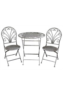 Cafe Setting Table + 2 Chairs - Grey