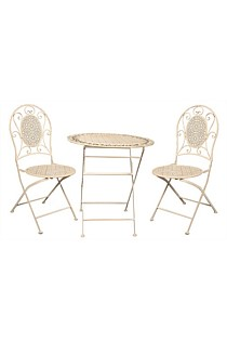 Cafe Setting Table + 2 Chairs - Antique Cream