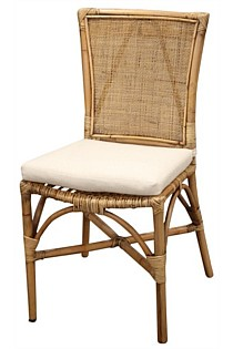 Bali rattan dining chair linen cushion - honey brown