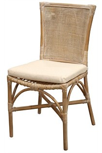 Bali rattan dining chair linen cushion - grey / white