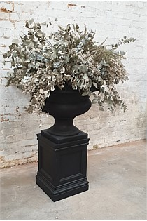 Black Urn - Wide with Plinth