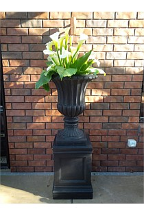 Black Urn - Tall with Base / Plinth