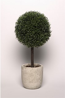 Artificial Buxus Plant with Antiqued Stone Planter