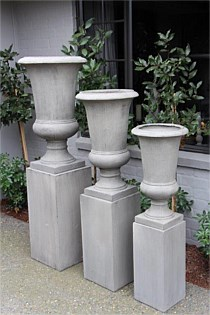 3 Grey Urns with Plinth Base (set of 3)