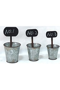 Set 3 Metal Pots with Chalk Memo Board