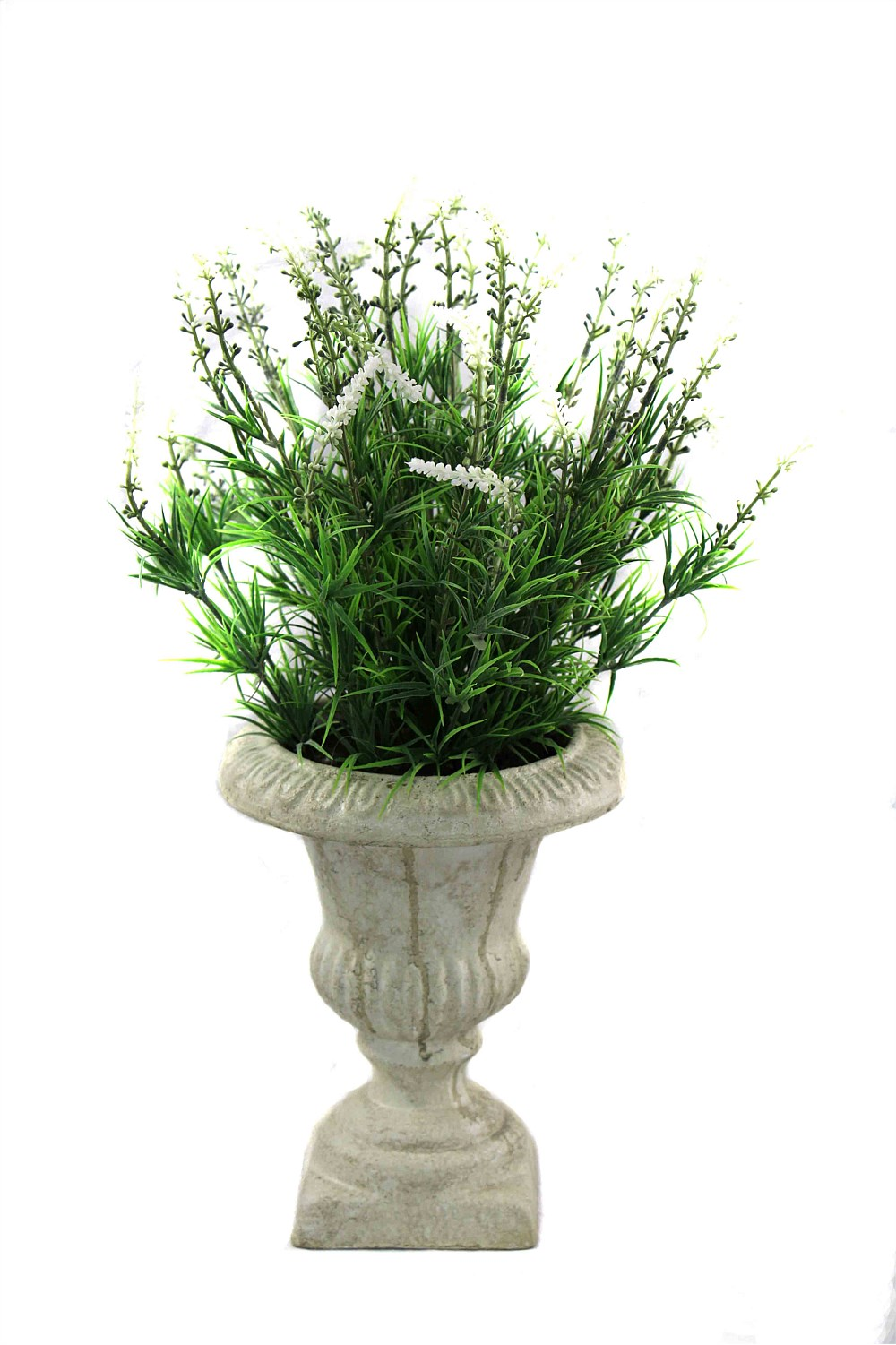 Artificial Lavender Plant With Antiqued Stone Planter