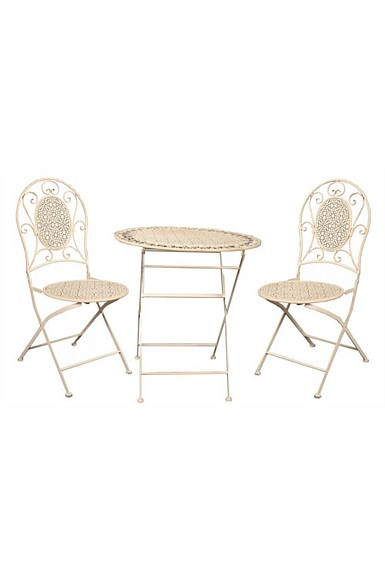 Cafe Setting Table   2 Chairs - Antique Cream